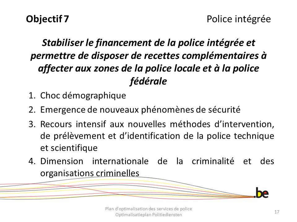 Objectif 7 Police intégrée Stabiliser le financement de la police intégrée et permettre de disposer de recettes complémentaires à affecter aux zones de la police locale et à la police fédérale
