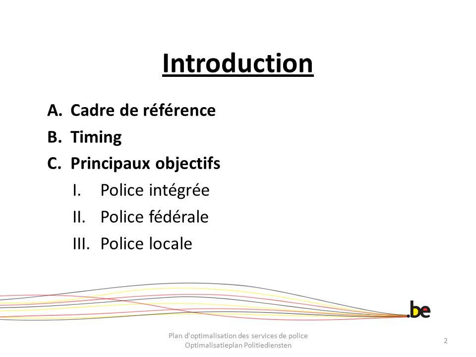 Introduction Cadre de référence Timing Principaux objectifs