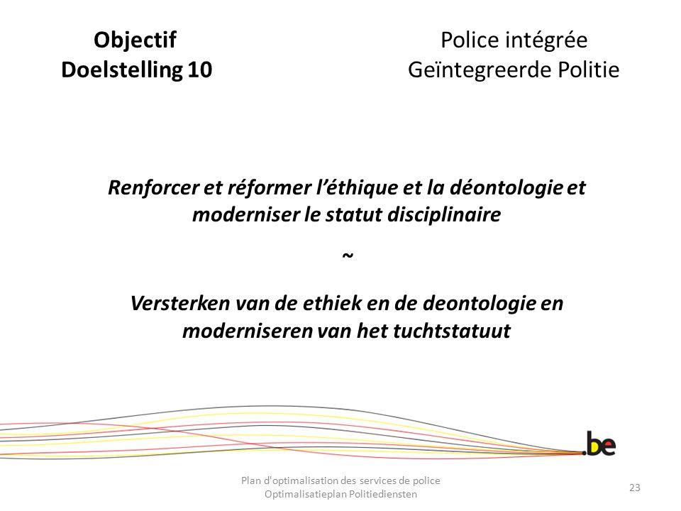 Objectif Police intégrée Doelstelling 10 Geïntegreerde Politie