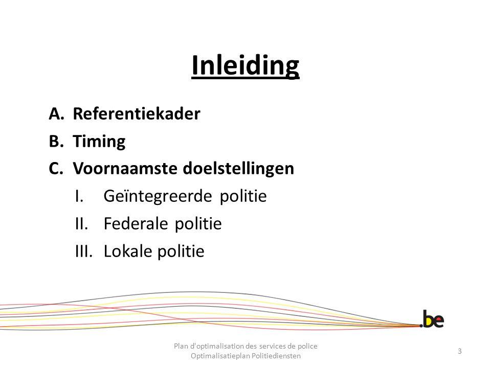 Inleiding Referentiekader Timing Voornaamste doelstellingen
