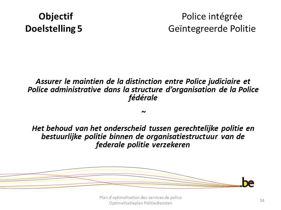 Objectif Police intégrée Doelstelling 5 Geïntegreerde Politie