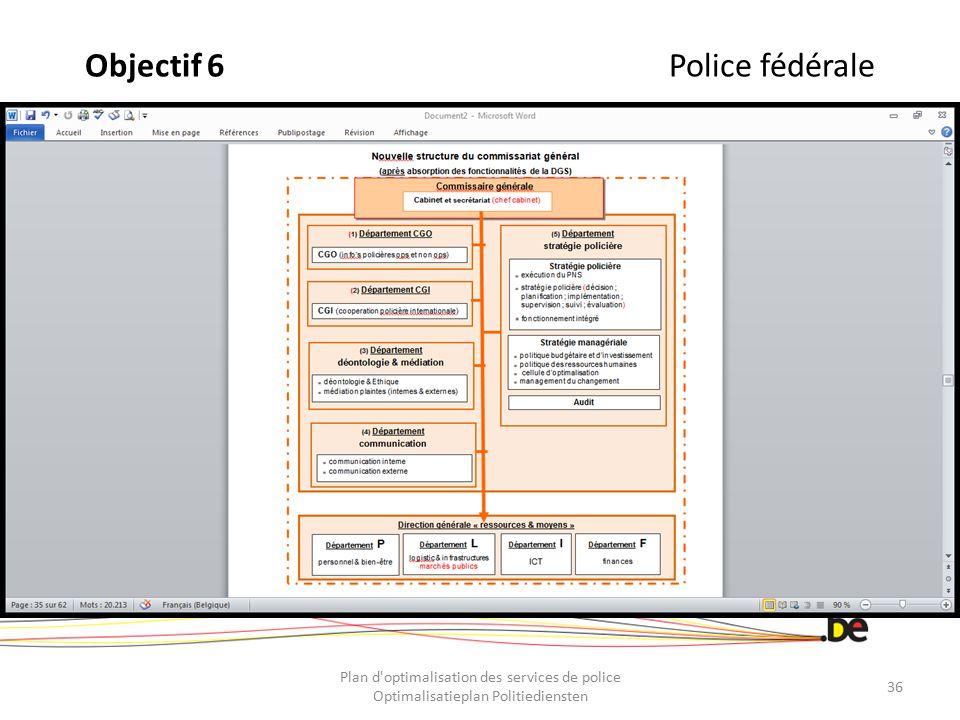 Objectif 6 Police fédérale