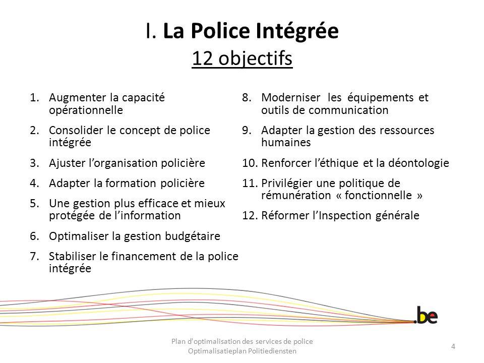 I. La Police Intégrée 12 objectifs