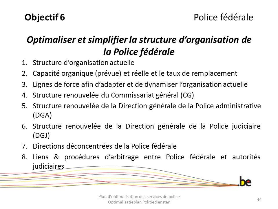 Objectif 6 Police fédérale Optimaliser et simplifier la structure d'organisation de la Police fédérale
