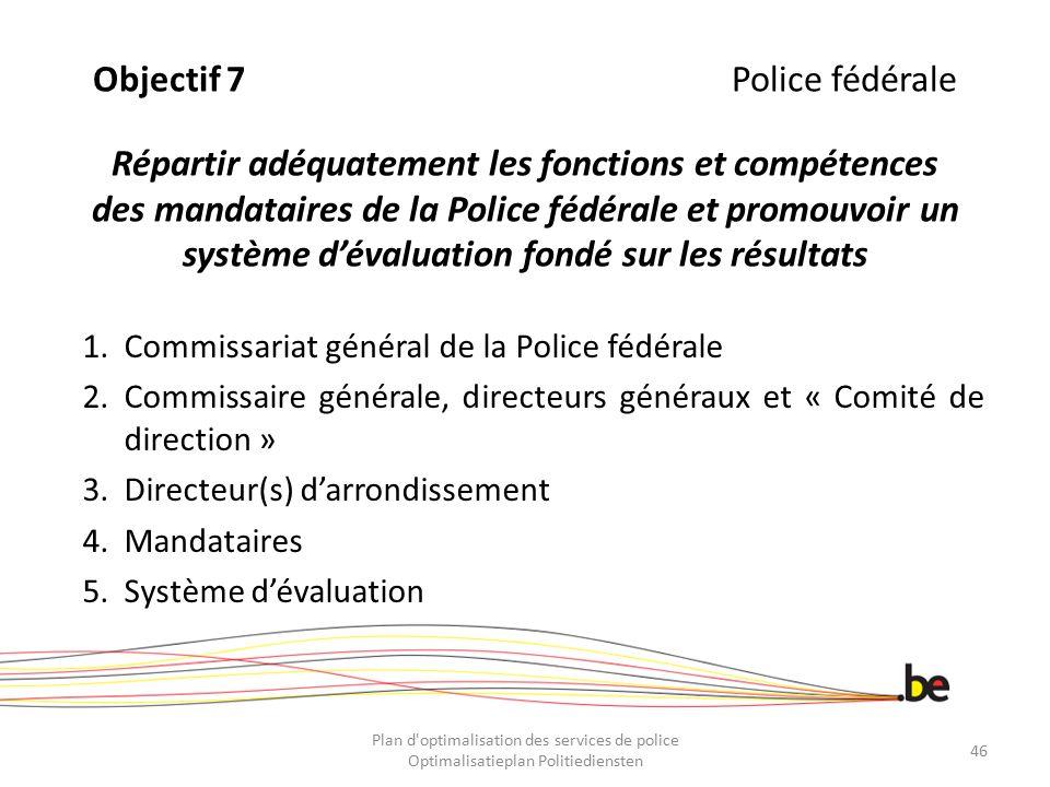 Objectif 7 Police fédérale Répartir adéquatement les fonctions et compétences des mandataires de la Police fédérale et promouvoir un système d'évaluation fondé sur les résultats