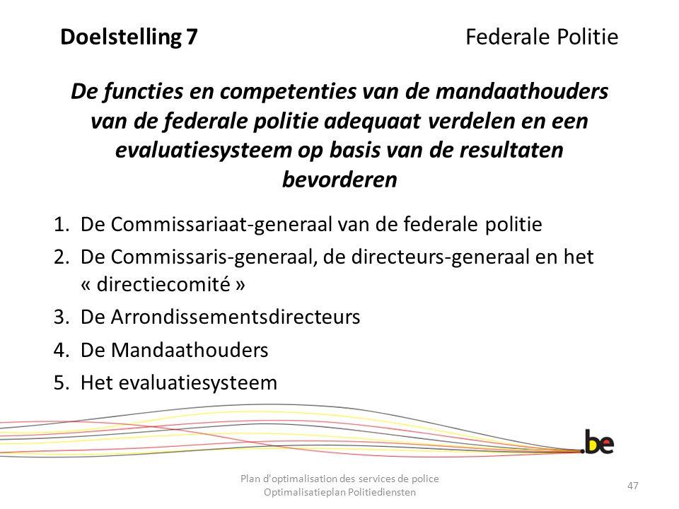 Doelstelling 7 Federale Politie De functies en competenties van de mandaathouders van de federale politie adequaat verdelen en een evaluatiesysteem op basis van de resultaten bevorderen