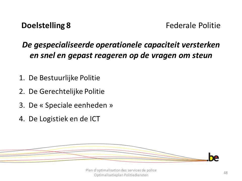 Doelstelling 8 Federale Politie De gespecialiseerde operationele capaciteit versterken en snel en gepast reageren op de vragen om steun