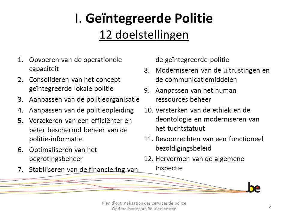 I. Geïntegreerde Politie 12 doelstellingen