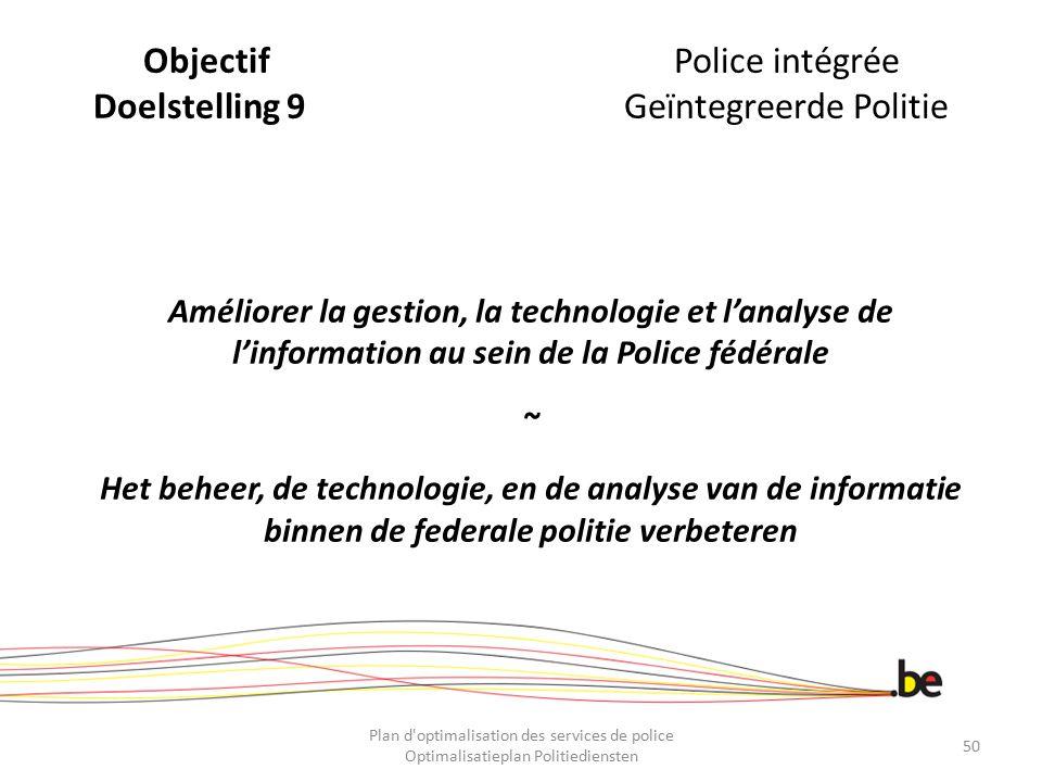 Objectif Police intégrée Doelstelling 9 Geïntegreerde Politie
