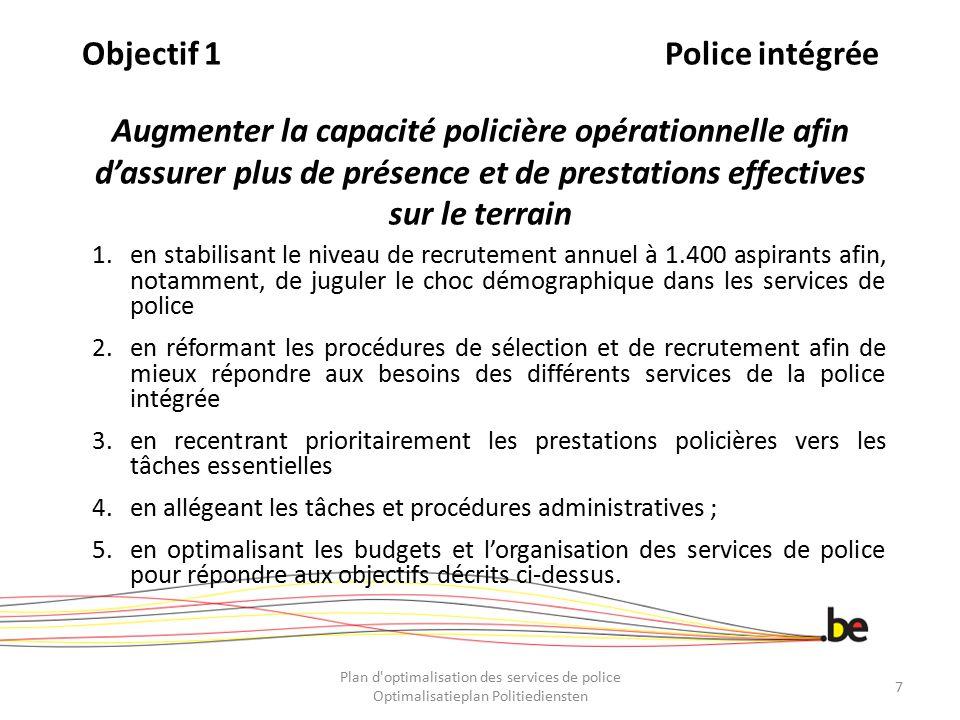 Objectif 1 Police intégrée Augmenter la capacité policière opérationnelle afin d'assurer plus de présence et de prestations effectives sur le terrain