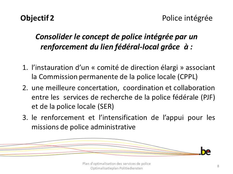Objectif 2 Police intégrée Consolider le concept de police intégrée par un renforcement du lien fédéral-local grâce à :