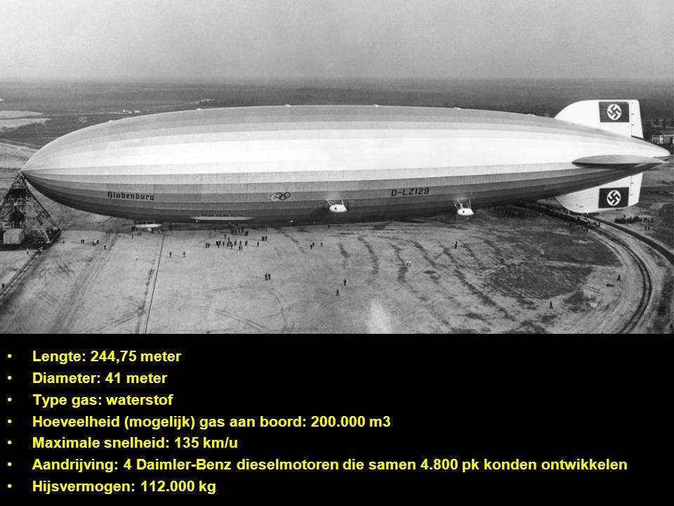 Lengte: 244,75 meter Diameter: 41 meter. Type gas: waterstof. Hoeveelheid (mogelijk) gas aan boord: 200.000 m3.