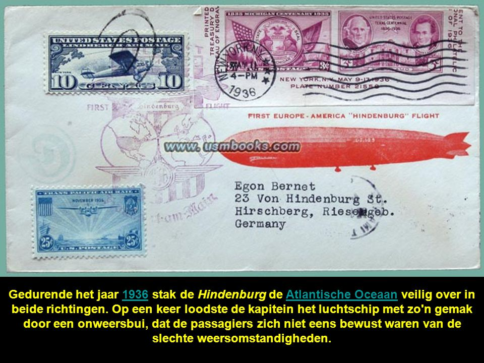 Gedurende het jaar 1936 stak de Hindenburg de Atlantische Oceaan veilig over in beide richtingen.