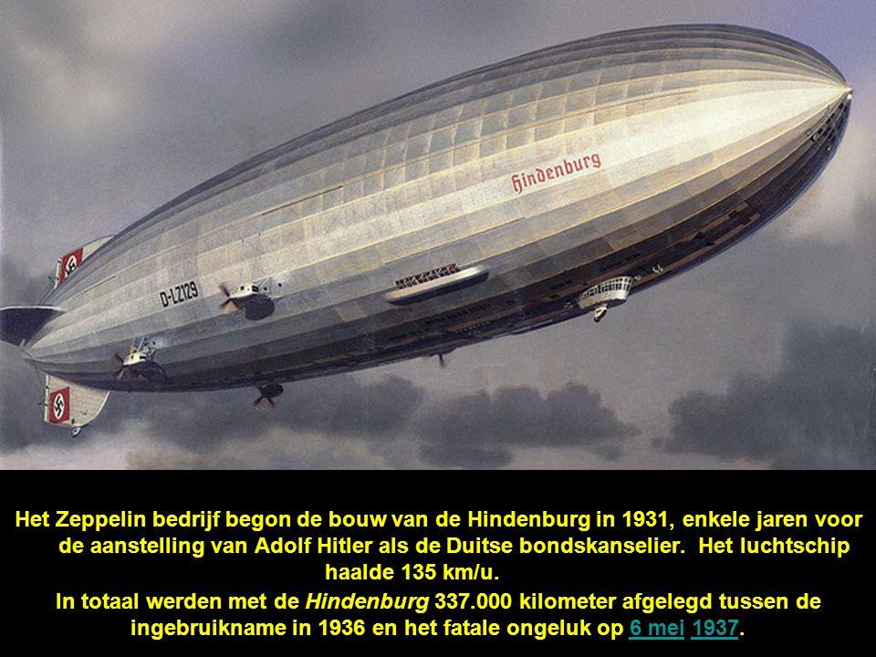 Het Zeppelin bedrijf begon de bouw van de Hindenburg in 1931, enkele jaren voor de aanstelling van Adolf Hitler als de Duitse bondskanselier. Het luchtschip haalde 135 km/u.aranden