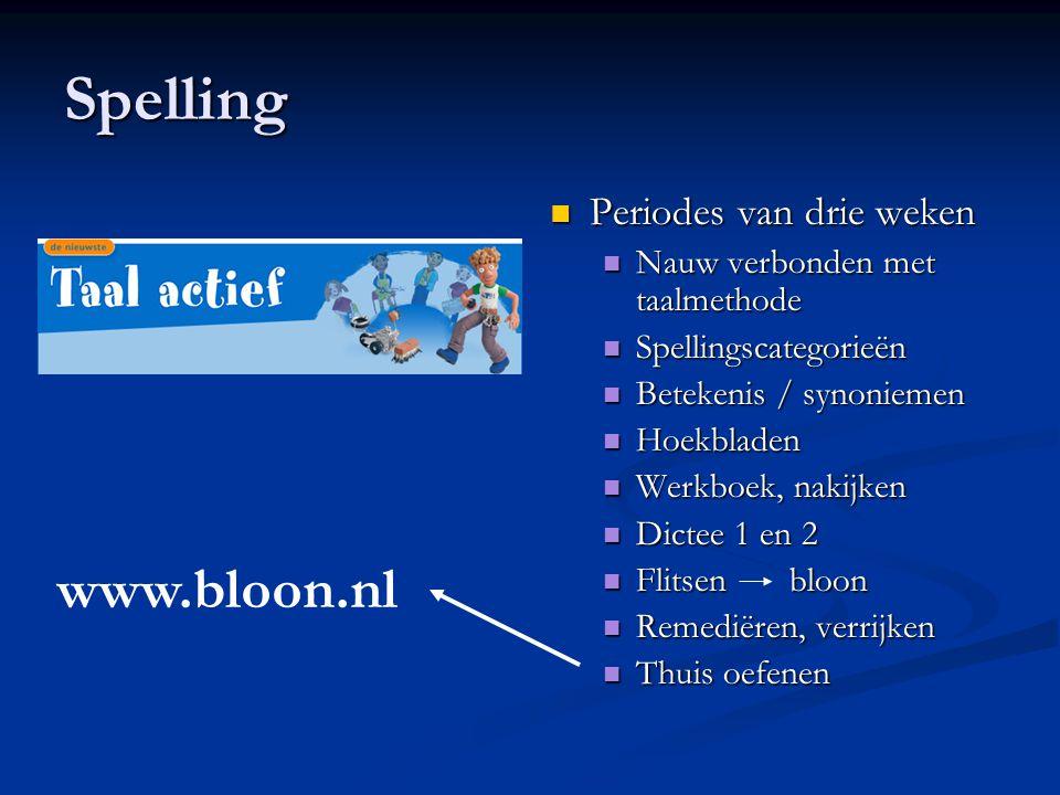 Spelling www.bloon.nl Periodes van drie weken