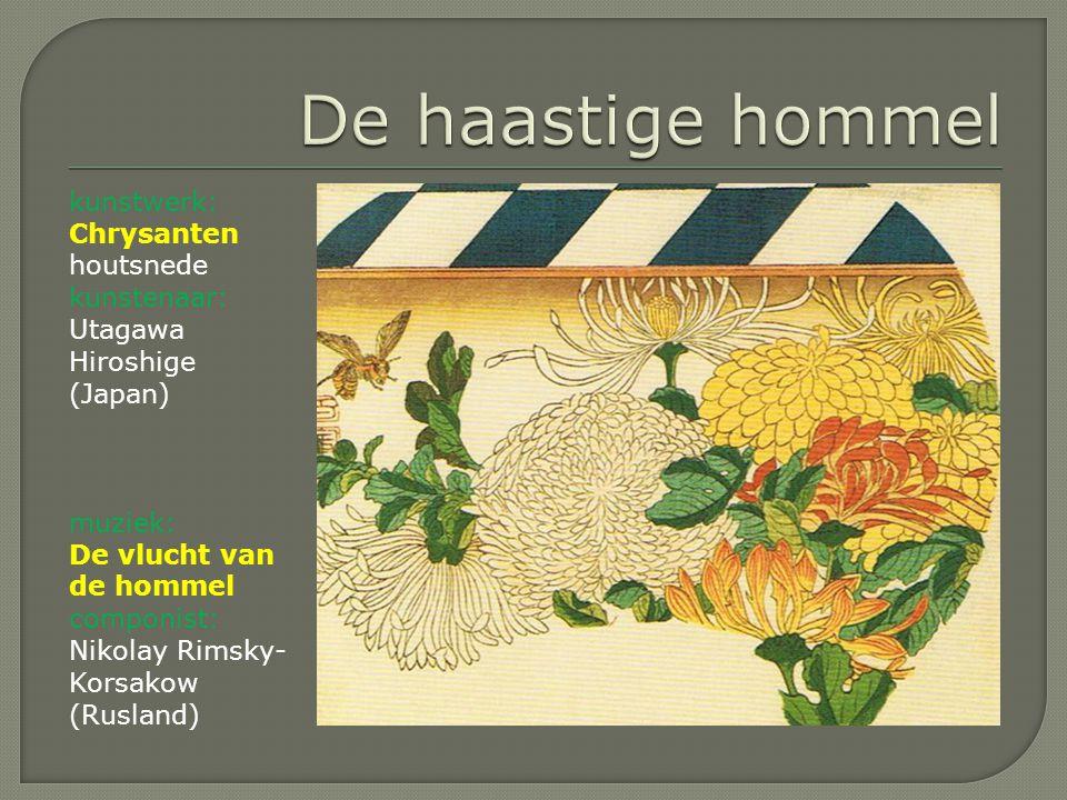 De haastige hommel kunstwerk: Chrysanten houtsnede