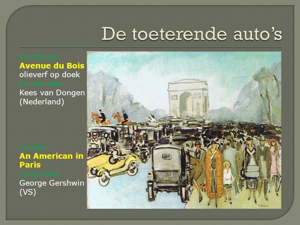 De toeterende auto's kunstwerk: Avenue du Bois olieverf op doek