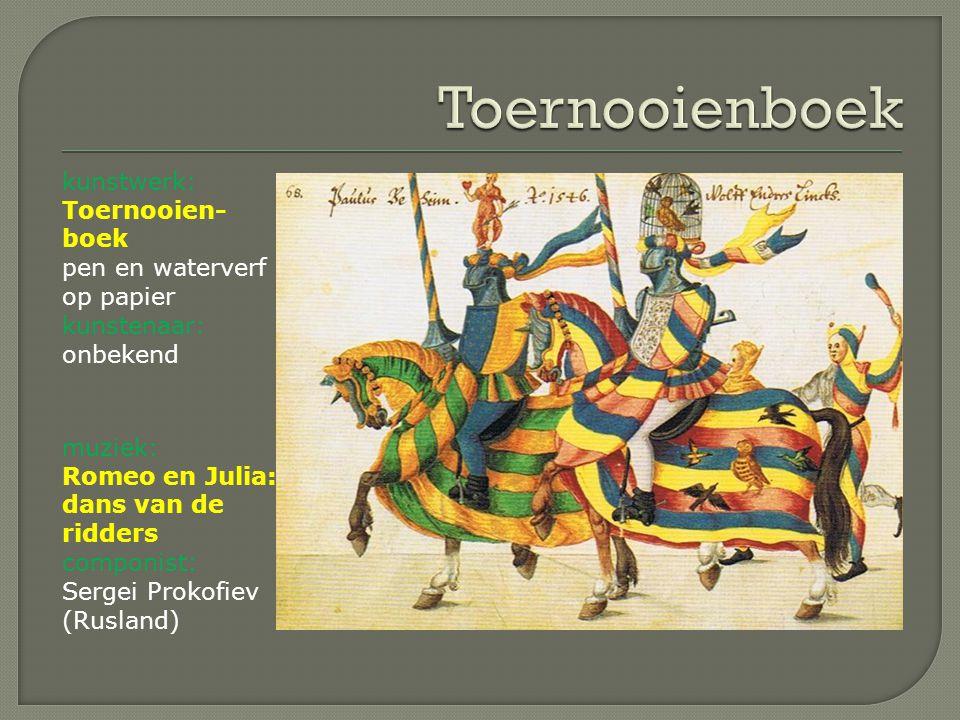 Toernooienboek kunstwerk: Toernooien-boek pen en waterverf op papier