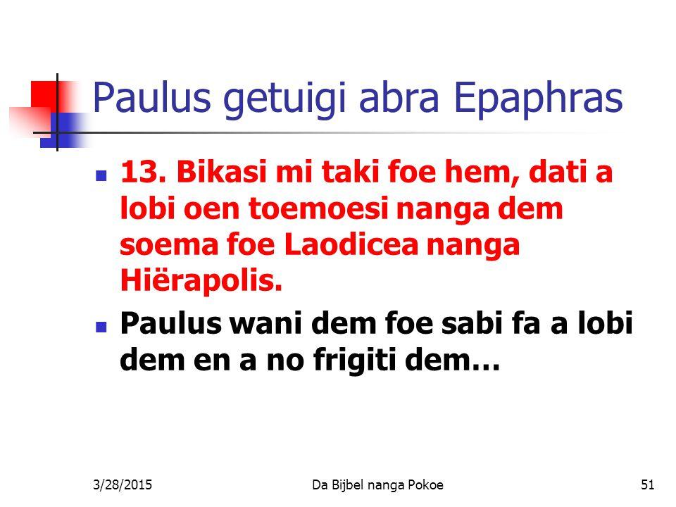 Paulus getuigi abra Epaphras