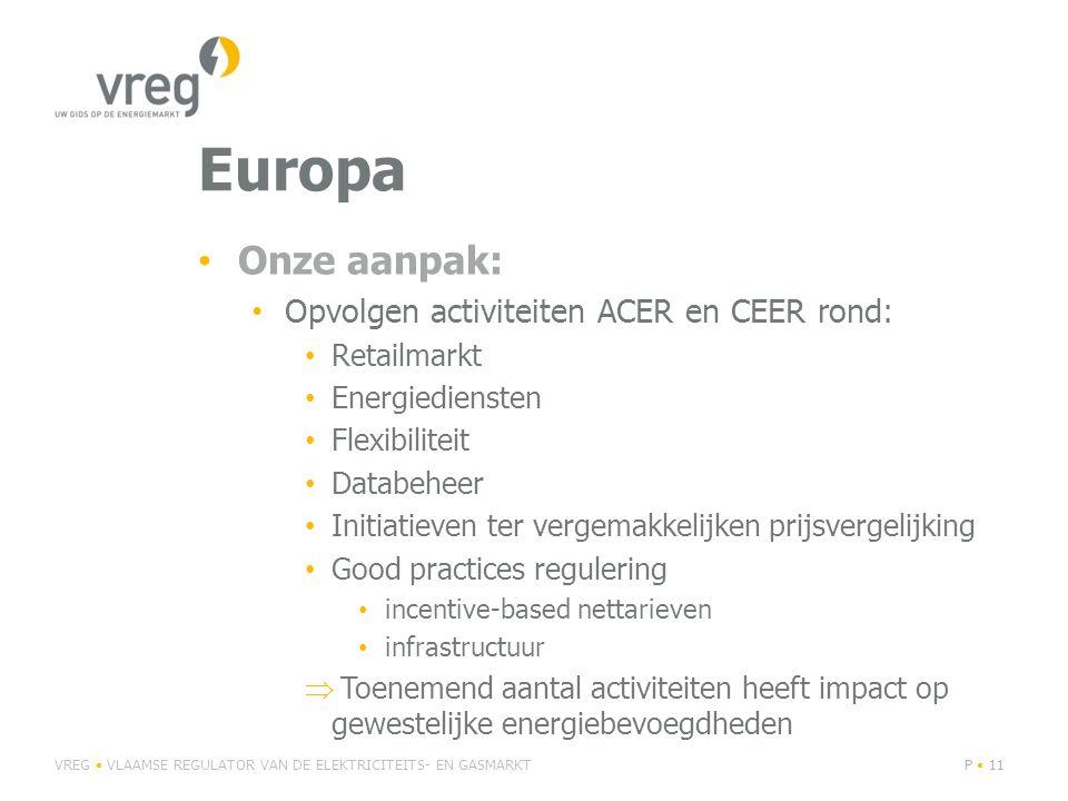 Europa Onze aanpak: Opvolgen activiteiten ACER en CEER rond: