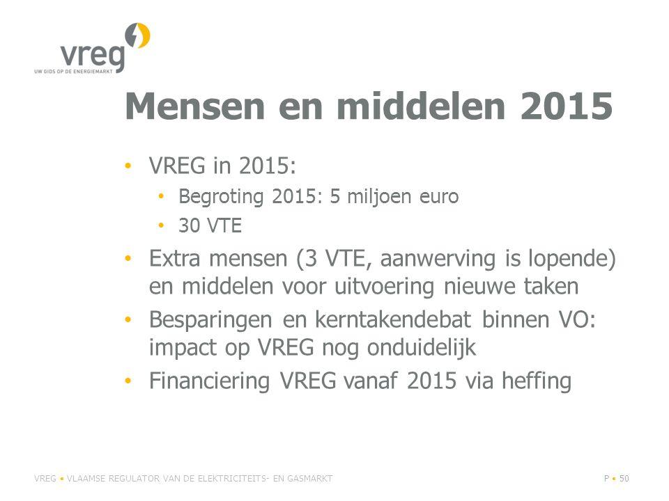 Mensen en middelen 2015 VREG in 2015: