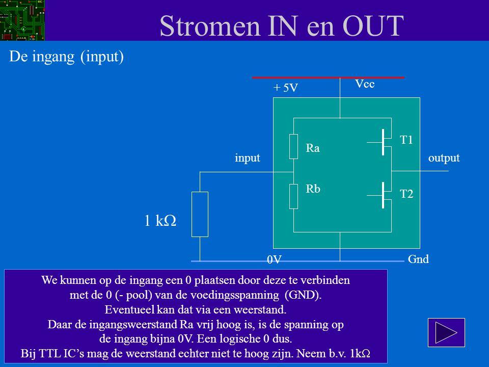 Stromen IN en OUT De ingang (input) 1 kW Vcc + 5V T1 Ra input output
