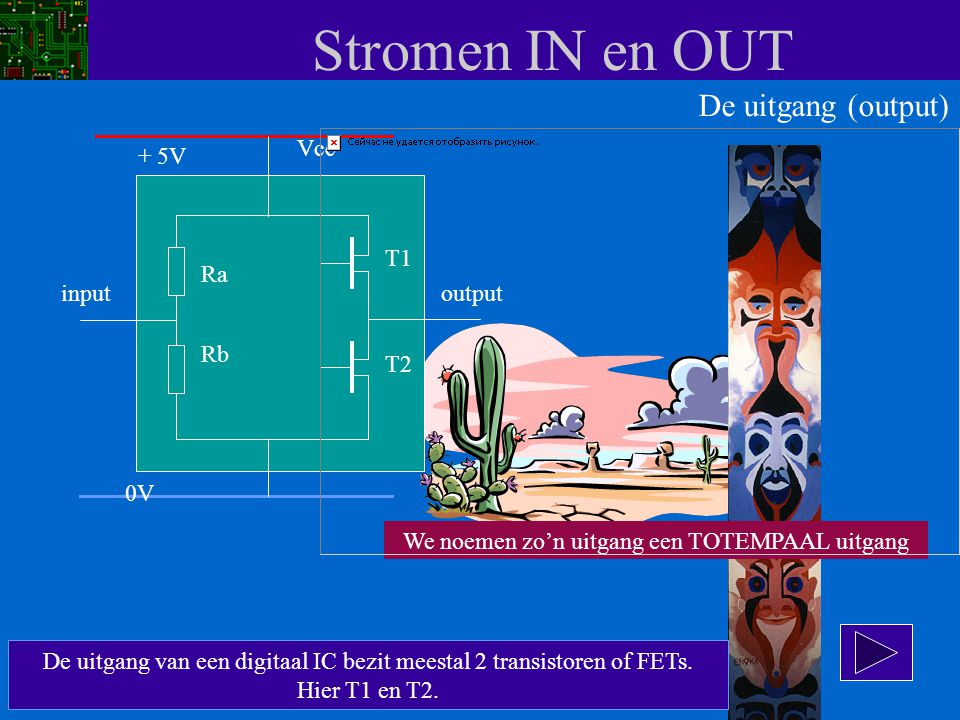 Stromen IN en OUT De uitgang (output) Vcc + 5V T1 Ra input output Rb