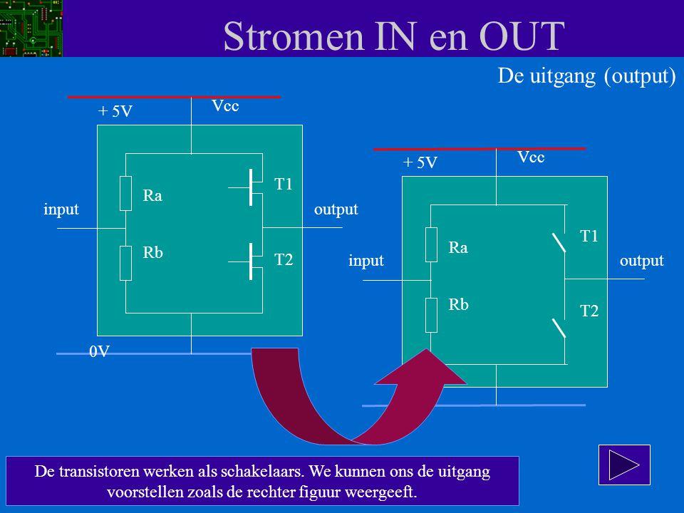 Stromen IN en OUT De uitgang (output) Vcc + 5V Vcc + 5V T1 Ra input