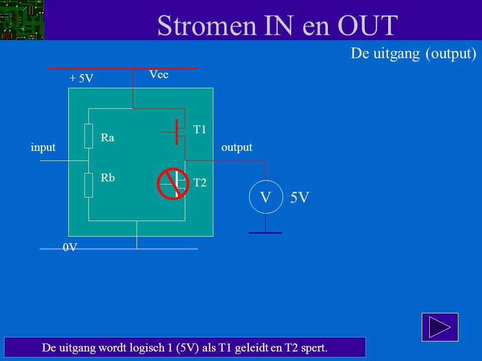 De uitgang wordt logisch 1 (5V) als T1 geleidt en T2 spert.