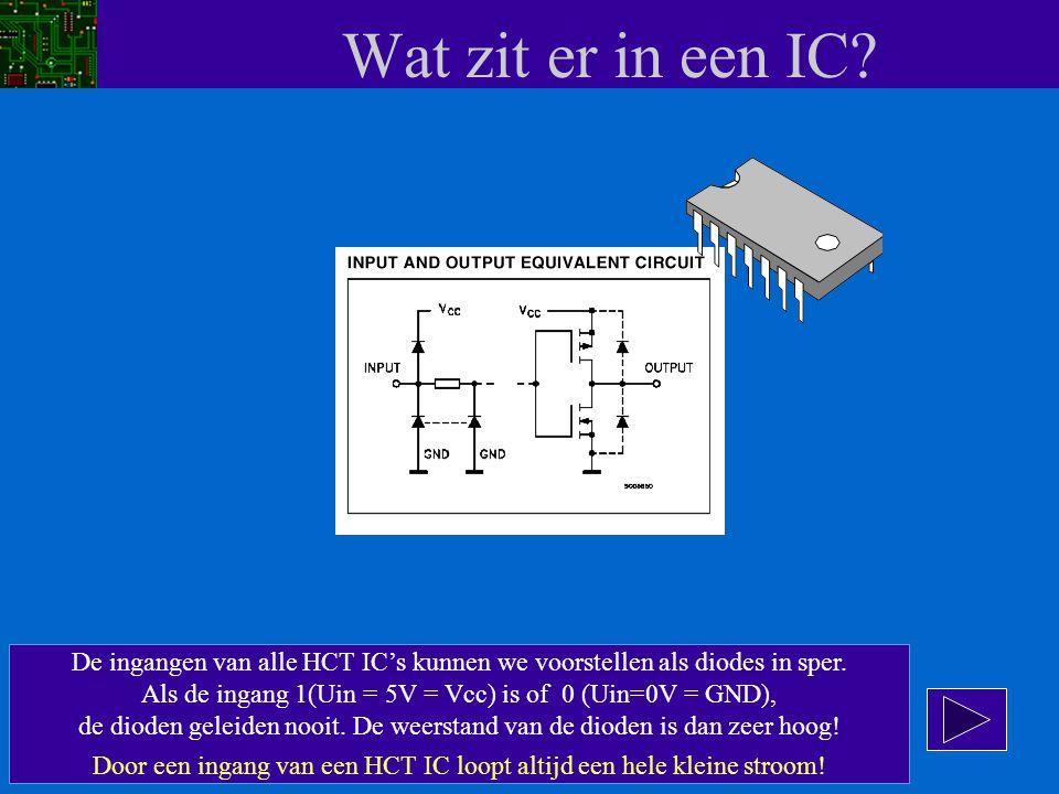 Wat zit er in een IC De ingangen van alle HCT IC's kunnen we voorstellen als diodes in sper.