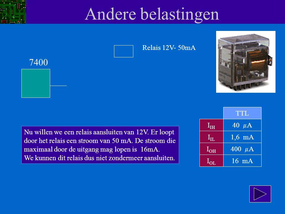 Andere belastingen 7400 Relais 12V- 50mA TTL IIH 40 mA