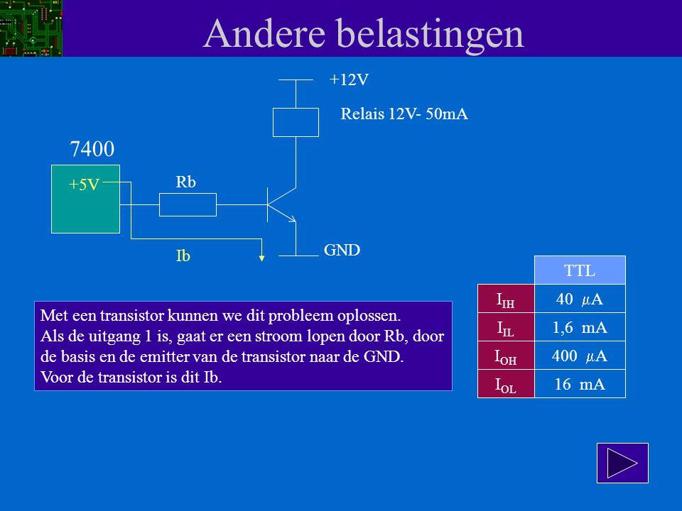 Andere belastingen 7400 +12V Relais 12V- 50mA +5V Rb GND Ib TTL IIH