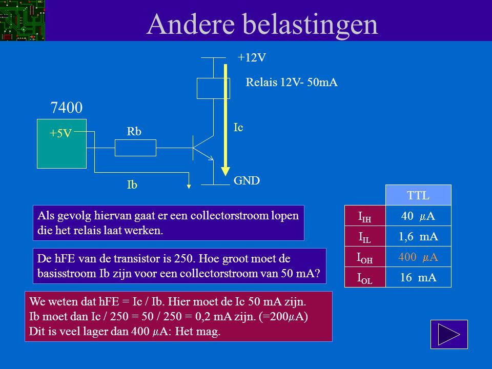 Andere belastingen 7400 +12V Relais 12V- 50mA Ic +5V Rb GND Ib TTL