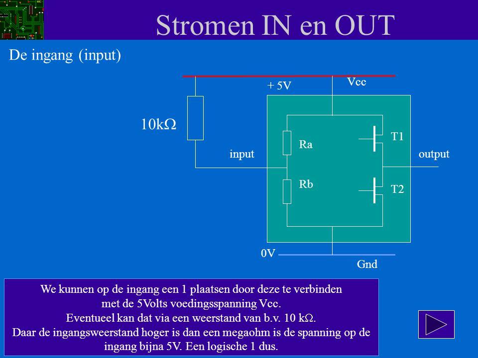 Stromen IN en OUT De ingang (input) 10kW Vcc + 5V T1 Ra input output