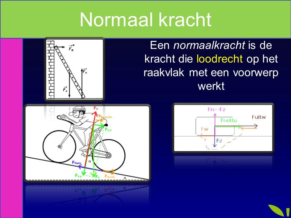 Normaal kracht Een normaalkracht is de kracht die loodrecht op het raakvlak met een voorwerp werkt.