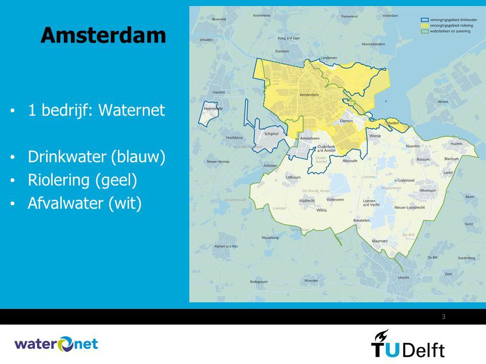 Amsterdam 1 bedrijf: Waternet Drinkwater (blauw) Riolering (geel)