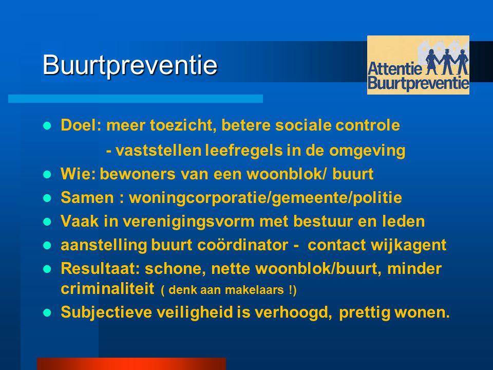 Buurtpreventie Doel: meer toezicht, betere sociale controle