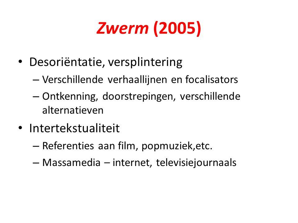 Zwerm (2005) Desoriëntatie, versplintering Intertekstualiteit
