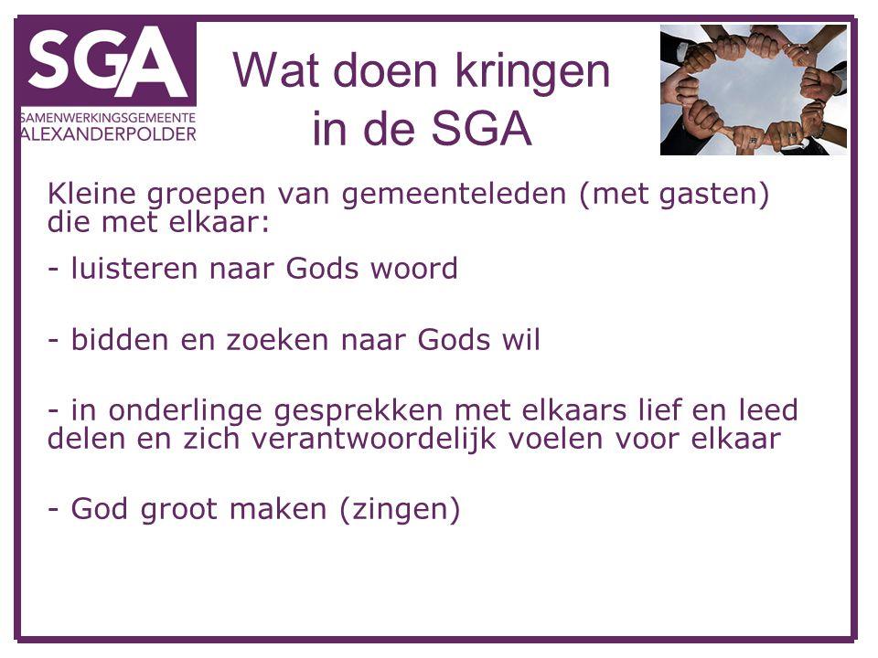 Wat doen kringen in de SGA