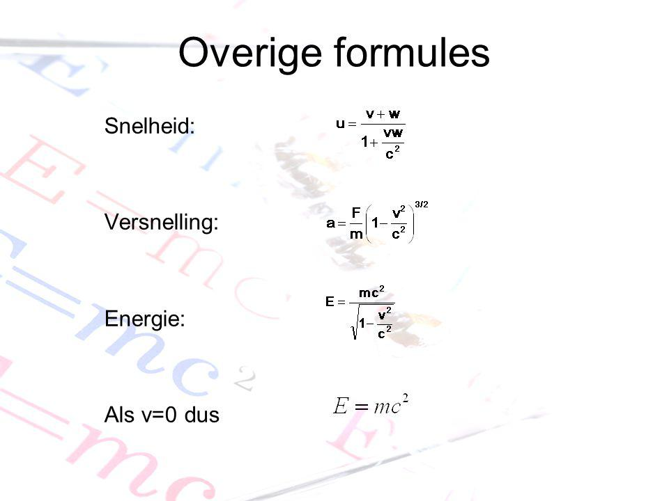 Overige formules Snelheid: Versnelling: Energie: Als v=0 dus