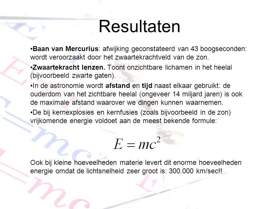 Resultaten Baan van Mercurius: afwijking geconstateerd van 43 boogseconden: wordt veroorzaakt door het zwaartekrachtveld van de zon.