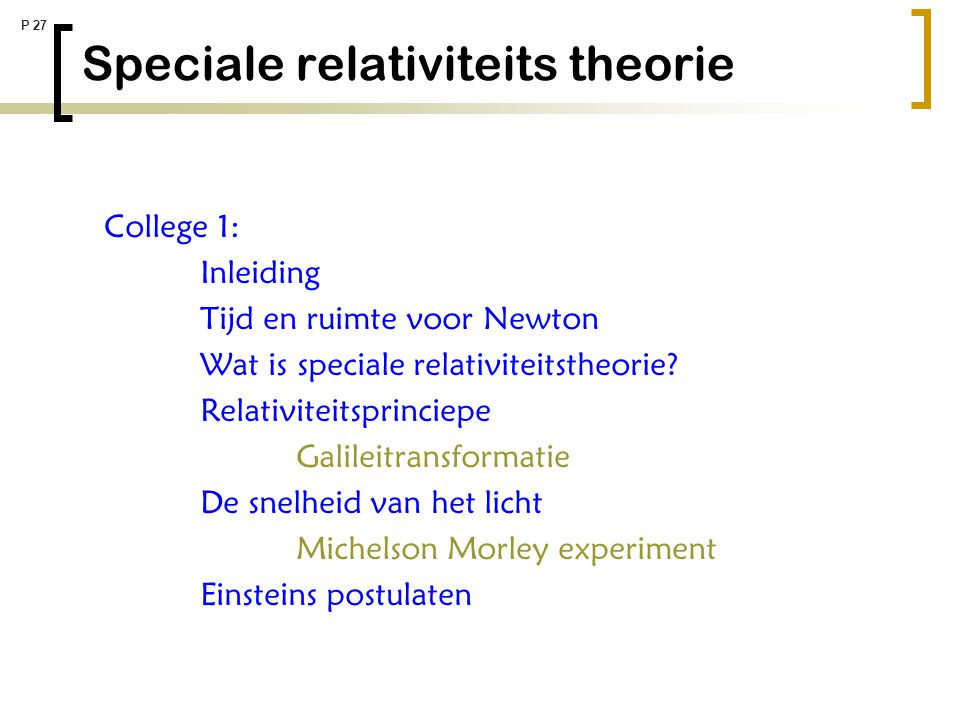 Speciale relativiteits theorie