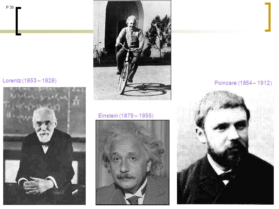Lorentz (1853 – 1928) Poincare (1854 – 1912) Einstein (1879 – 1955)