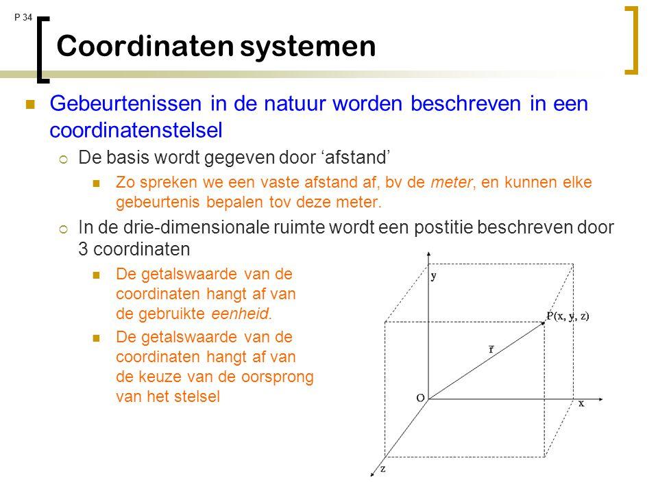 Coordinaten systemen Gebeurtenissen in de natuur worden beschreven in een coordinatenstelsel. De basis wordt gegeven door 'afstand'