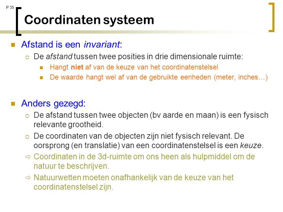 Coordinaten systeem Afstand is een invariant: Anders gezegd: