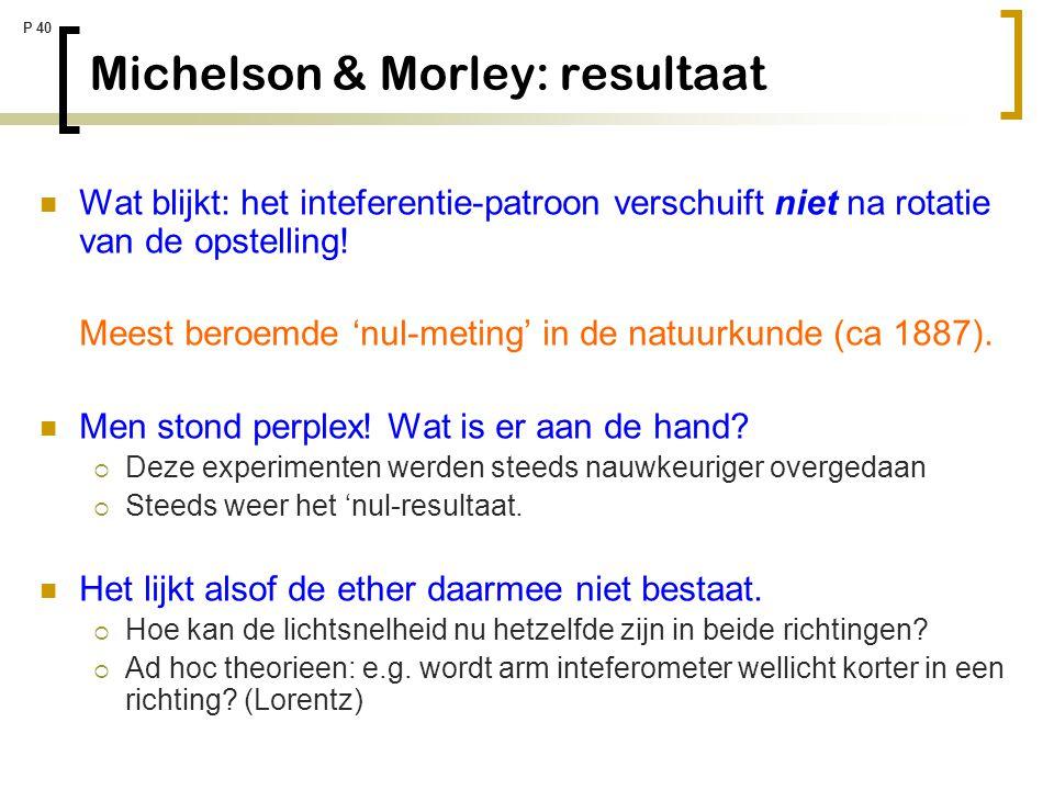 Michelson & Morley: resultaat