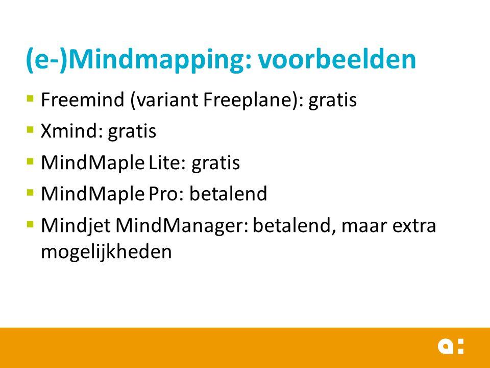 (e-)Mindmapping: voorbeelden