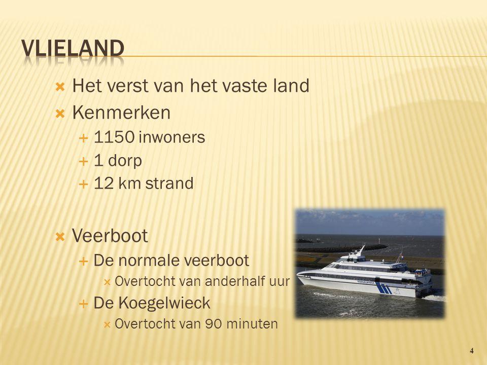Vlieland Het verst van het vaste land Kenmerken Veerboot 1150 inwoners