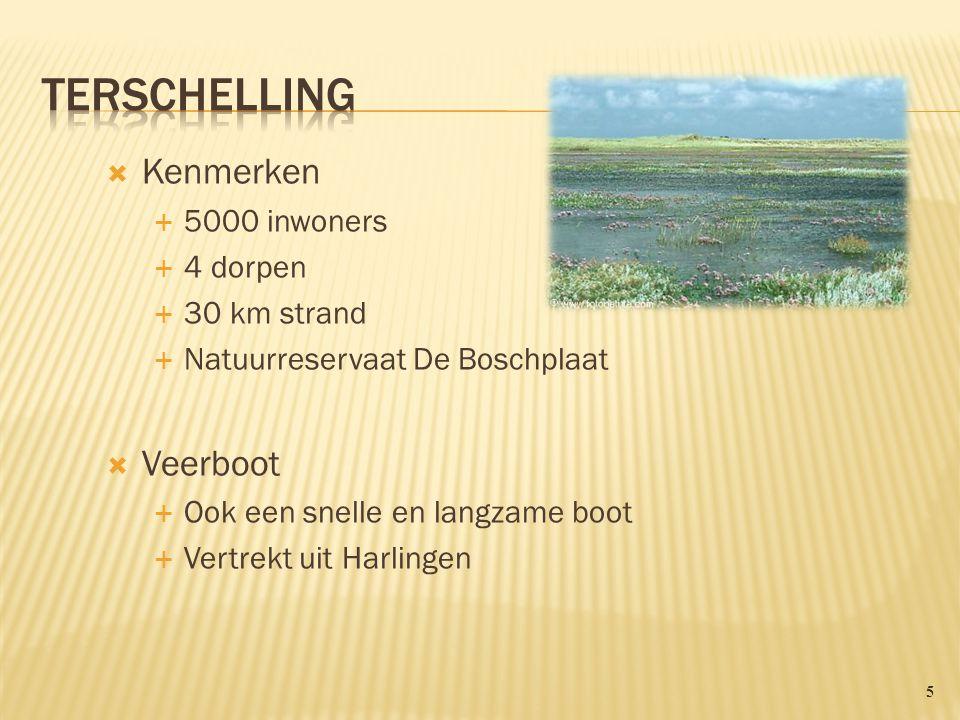Terschelling Kenmerken Veerboot 5000 inwoners 4 dorpen 30 km strand