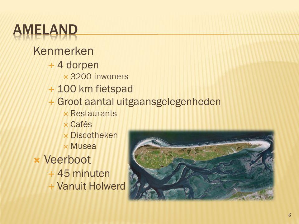 Ameland Kenmerken Veerboot 4 dorpen 100 km fietspad